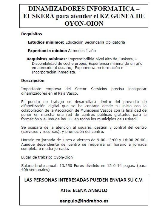 DINAMIZADORES INFORMATICA – EUSKERA para atender el KZ GUNEA DE OYON-OION.