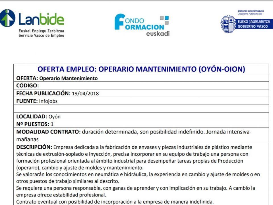 oferta empleo mantenimiento oyon