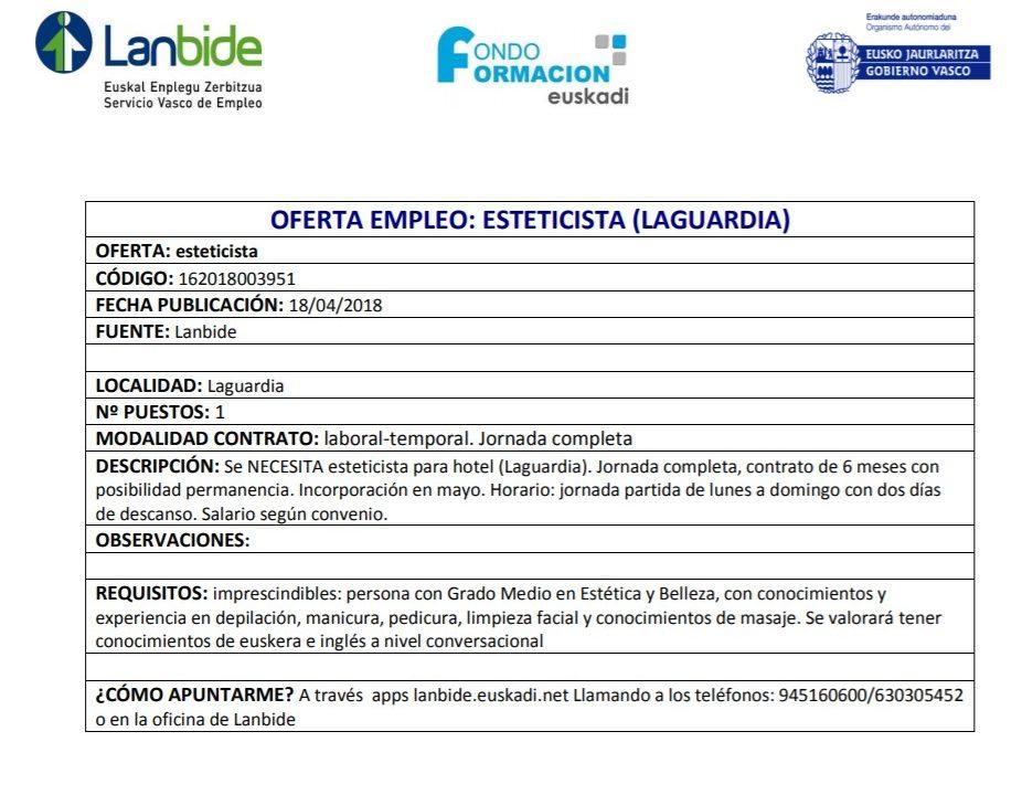 oferta-empleo-esteticista-laguardia
