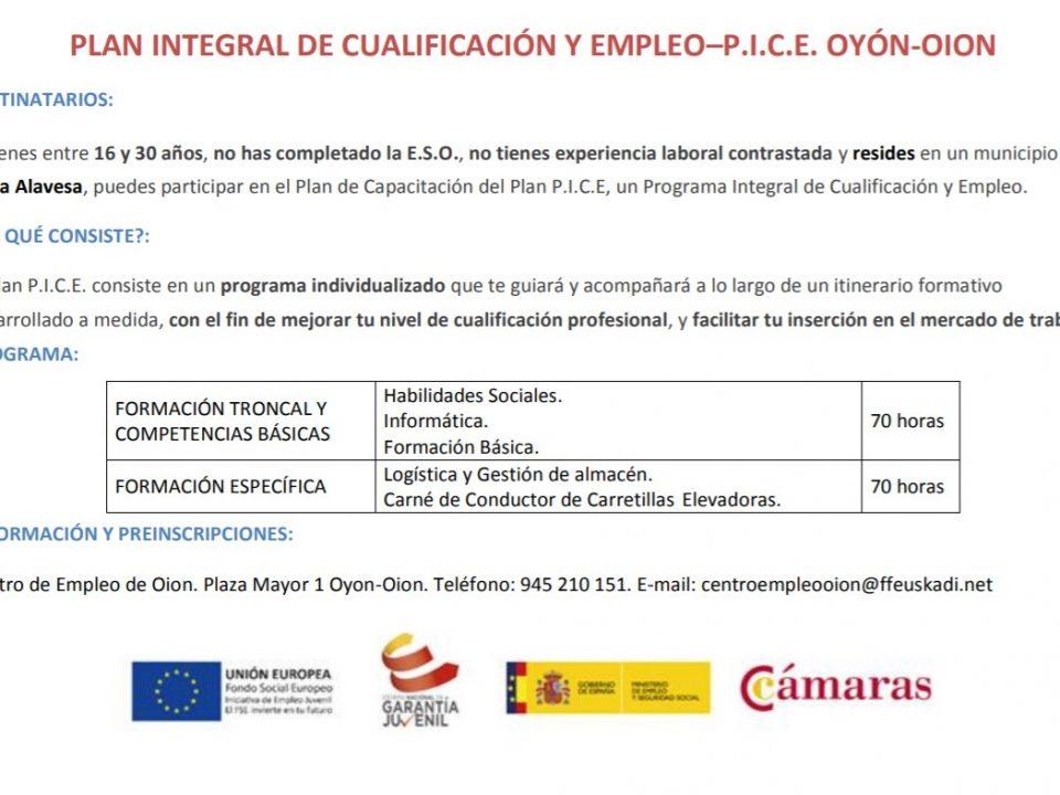 plan integral de cualificación y empleo. Oion-Oyón