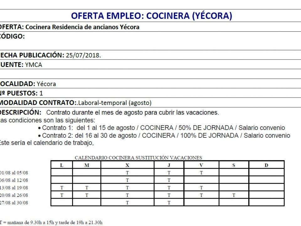 oferta de empleo residencia yecora